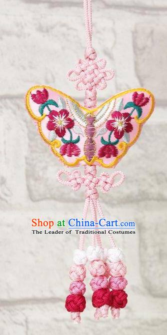 Traditional Korean Accessories Embroidered Butterfly Pink Waist Pendant, Asian Korean Fashion Wedding Tassel Waist Decorations for Kids