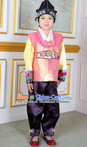 Traditional Korean National Handmade Court Embroidered Pink Costume, Asian Korean Boys Hanbok Clothing for Kids