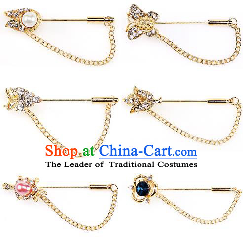 Traditional Korean Accessories Crystal Pearls Breastpin, Asian Korean Fashion Wedding Tassel Brooch for Women