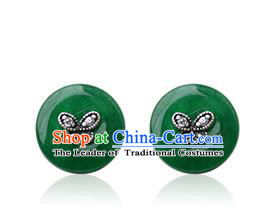 Traditional Korean Accessories Jadeite Earrings, Asian Korean Fashion Wedding Eardrop Jewelry for Women