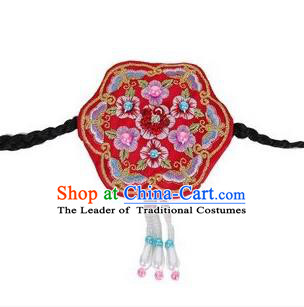 Traditional Korean Hair Accessories Embroidered Red Hair Clasp, Asian Korean Fashion Wedding Headband for Kids