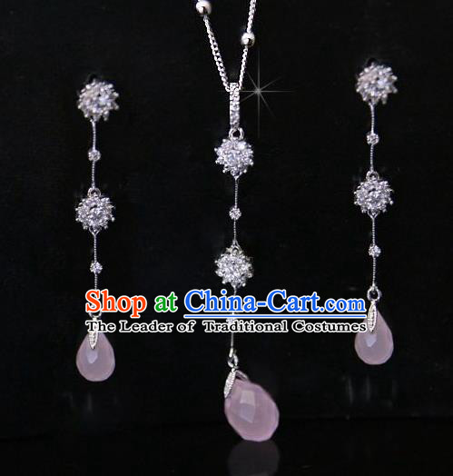 Traditional Korean Accessories Pink Crystal Necklace and Earrings, Asian Korean Fashion Wedding Jewelry for Women