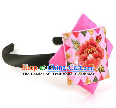 Traditional Korean Hair Accessories Embroidered Peony Hair Clasp, Asian Korean Fashion Wedding Pink Headband for Kids