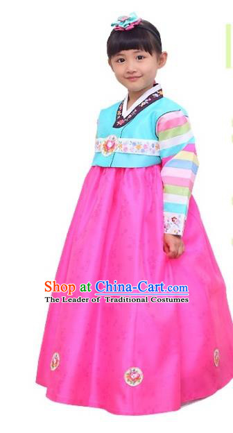 Traditional Korean National Girls Handmade Court Embroidered Clothing, Asian Korean Apparel Hanbok Embroidery Blue Blouse Costume for Kids