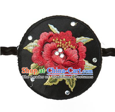 Traditional Korean Hair Accessories Embroidered Black Round Hair Clasp, Asian Korean Fashion Wedding Headband for Kids