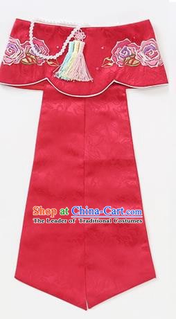 Traditional Korean Hair Accessories Embroidered Hat, Asian Korean Fashion Wedding Red Headband for Kids