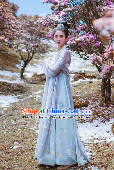 Asian China Tang Dynasty Imperial Concubine Costume Complete Set, Traditional Ancient Chinese Palace Lady Hanfu Clothing for Women