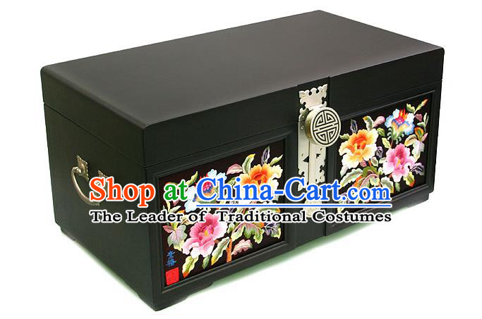 Traditional Korean Craft Hand Embroidery Cosmetic Container Dowry Box, Asian Korean Wedding Jewellery Case for Women