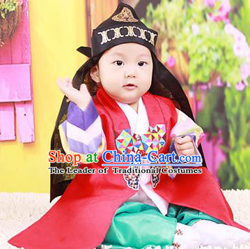 Traditional Korean National Handmade Court Embroidered Prince Costume, Asian Korean Boys Hanbok Clothing for Kids