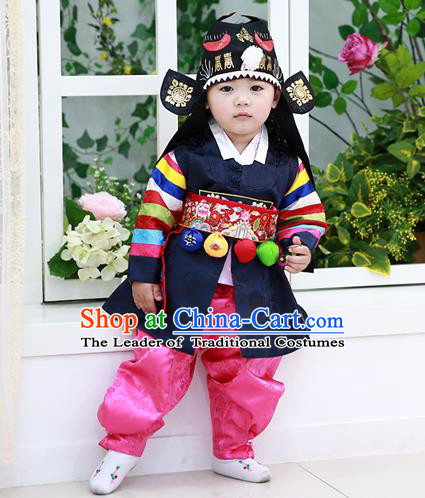 Traditional Korean National Handmade Court Embroidered Prince Costume, Asian Korean Boys Black Hanbok Clothing for Kids