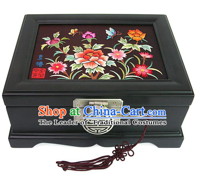 Traditional Korean Craft Handmade Embroidery Cosmetic Container, Asian Korean Wedding Jewellery Box for Women