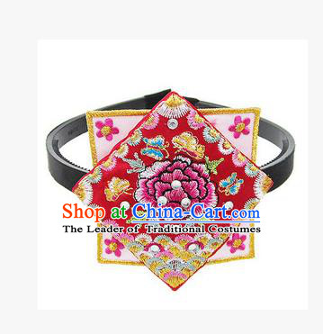 Traditional Korean Hair Accessories Square Embroidered Flowers Red Hair Clasp, Asian Korean Fashion Headwear Headband for Kids