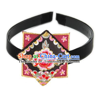Traditional Korean Hair Accessories Square Embroidered Flowers Black Hair Clasp, Asian Korean Fashion Headwear Headband for Kids