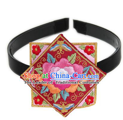 Traditional Korean Hair Accessories Square Embroidered Flowers Pink Hair Clasp, Asian Korean Fashion Headwear Headband for Kids