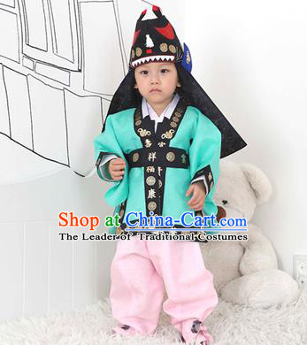 Traditional Korean Handmade Hanbok Embroidered Blue Costume and Hats, Asian Korean Apparel Hanbok Embroidery Clothing for Boys