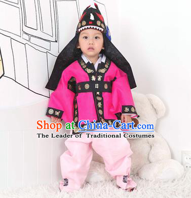 Traditional Korean Handmade Hanbok Embroidered Rosy Costume and Hats, Asian Korean Apparel Hanbok Embroidery Clothing for Boys