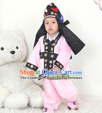 Traditional Korean Handmade Hanbok Embroidered Pink Costume and Hats, Asian Korean Apparel Hanbok Embroidery Clothing for Boys