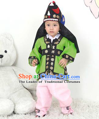 Traditional Korean Handmade Hanbok Embroidered Green Costume and Hats, Asian Korean Apparel Hanbok Embroidery Clothing for Boys