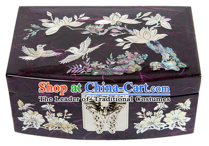 Traditional Korean Craft Handmade Printing Purple Shell Cosmetic Container, Asian Korean Wedding Jewellery Box for Women