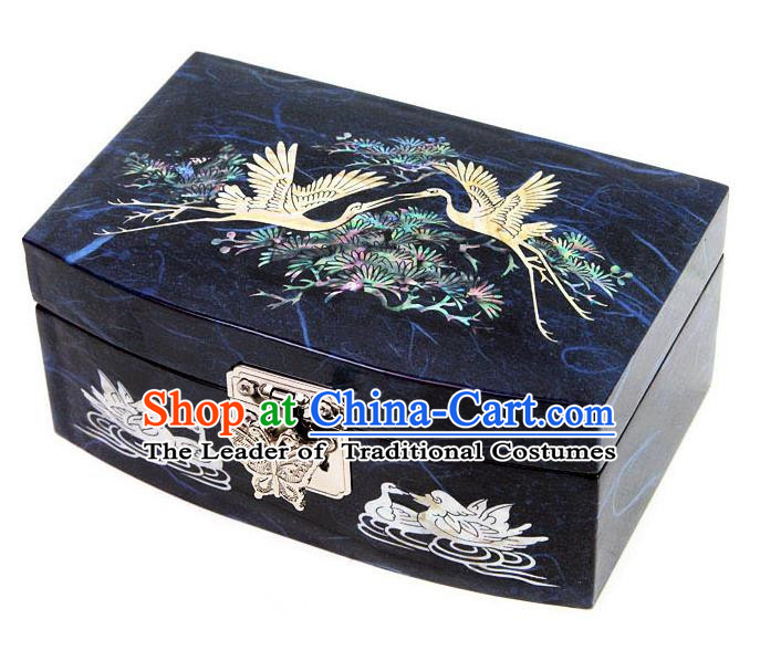 Traditional Korean Craft Handmade Printing Crane Blue Shell Cosmetic Container, Asian Korean Wedding Jewellery Box for Women