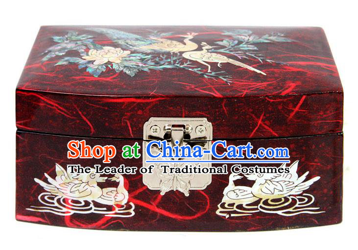 Traditional Korean Craft Handmade Printing Crane Red Shell Cosmetic Container, Asian Korean Wedding Jewellery Box for Women