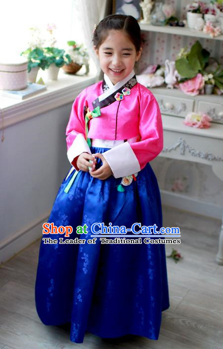 Traditional Korean Handmade Hanbok Embroidered Costume Pink Blouse and Blue Dress, Asian Korean Apparel Hanbok Clothing for Girls