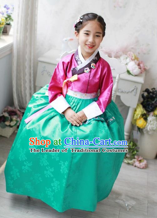Traditional Korean Handmade Hanbok Embroidered Costume Pink Blouse and Green Dress, Asian Korean Apparel Hanbok Clothing for Girls