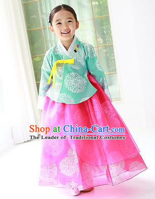 Traditional Korean Handmade Hanbok Embroidered Costume Green Blouse and Pink Dress, Asian Korean Apparel Hanbok Clothing for Girls