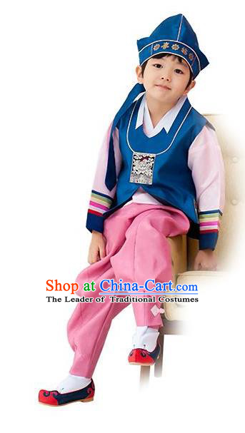 Traditional Korean Handmade Hanbok Embroidered Deep Blue Formal Occasions Costume, Asian Korean Apparel Hanbok Clothing for Boys
