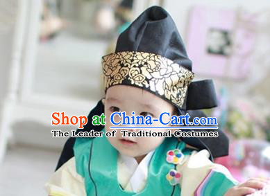 Traditional Korean Hair Accessories Palace Prince Black Hats, Asian Korean Fashion Children Wedding Headwear for Boys