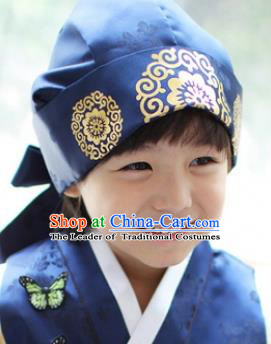 Traditional Korean Hair Accessories Palace Prince Blue Hats, Asian Korean Fashion Children Wedding Headwear for Boys