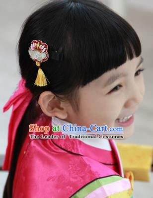 Traditional Korean Hair Accessories Embroidered Hair Claw, Asian Korean Fashion Headwear Hair Stick for Kids