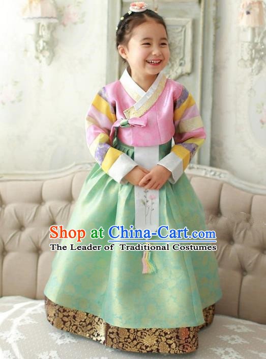 Traditional Korean Handmade Formal Occasions Embroidered Palace Princess Hanbok Green Dress Clothing for Girls