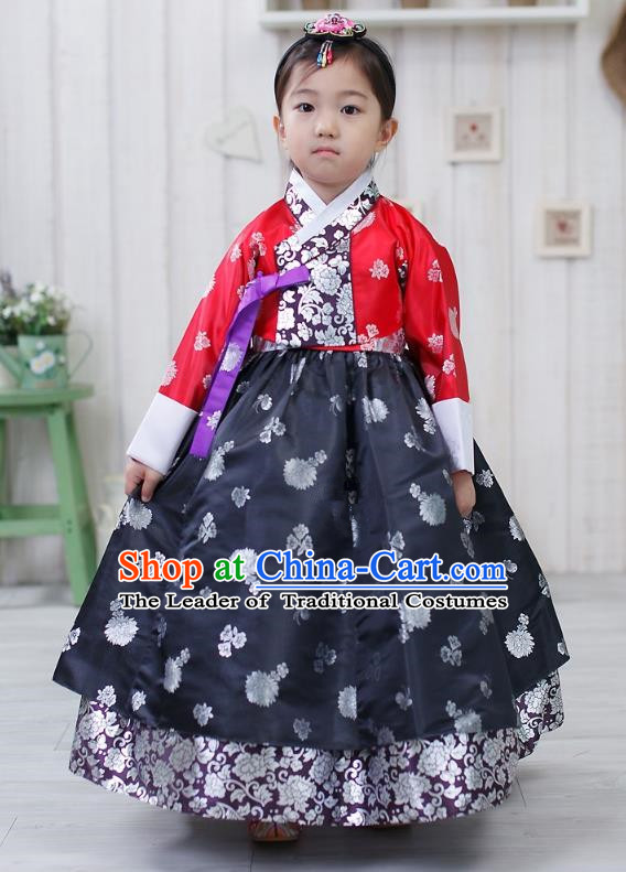 Traditional Korean Handmade Formal Occasions Embroidered Palace Princess Hanbok Navy Dress Clothing for Girls