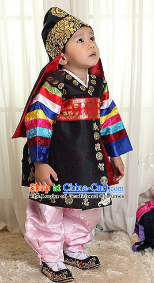 Traditional Korean Handmade Formal Occasions Embroidered Baby Prince Hanbok Clothing