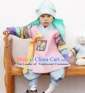 Traditional Korean Handmade Formal Occasions Embroidered Baby Prince Pink Hanbok Clothing