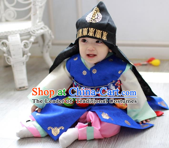 Traditional Korean Handmade Formal Occasions Embroidered Baby Prince Blue Hanbok Clothing
