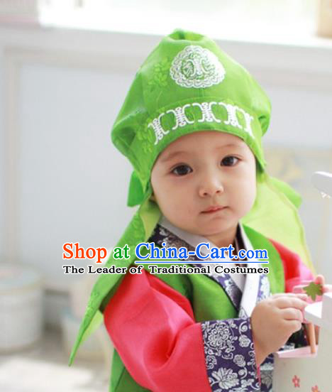 Traditional Korean Hair Accessories Palace Prince Green Hats, Asian Korean National Fashion Children Headwear for Boys