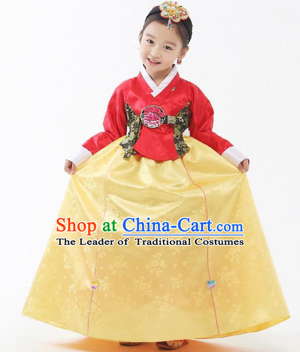 Traditional Korean Handmade Formal Occasions Embroidered Palace Princess Hanbok Yellow Dress Clothing for Girls