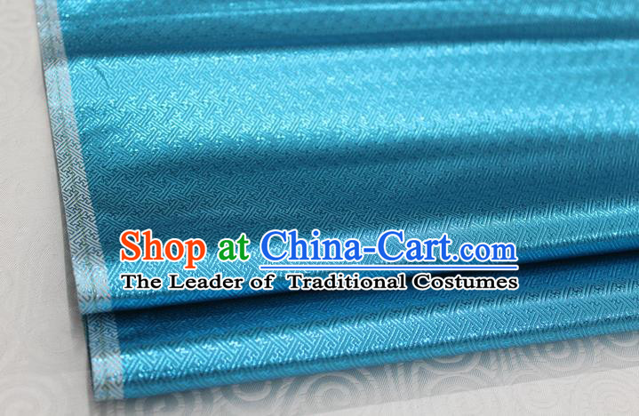 Chinese Traditional Royal Palace Pattern Mongolian Robe Lake Blue Brocade Fabric, Chinese Ancient Emperor Costume Drapery Hanfu Tang Suit Material