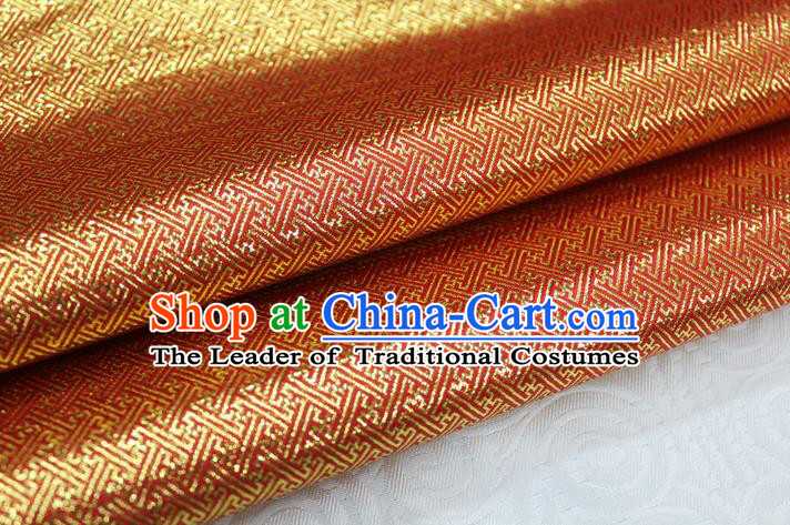 Chinese Traditional Royal Palace Pattern Mongolian Robe Red Golden Brocade Fabric, Chinese Ancient Emperor Costume Drapery Hanfu Tang Suit Material
