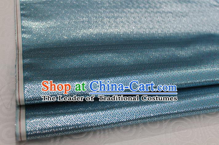 Chinese Traditional Royal Palace Pattern Mongolian Robe Light Blue Brocade Fabric, Chinese Ancient Emperor Costume Drapery Hanfu Tang Suit Material