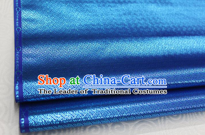 Chinese Traditional Royal Palace Pattern Mongolian Robe Royalblue Brocade Fabric, Chinese Ancient Emperor Costume Drapery Hanfu Tang Suit Material