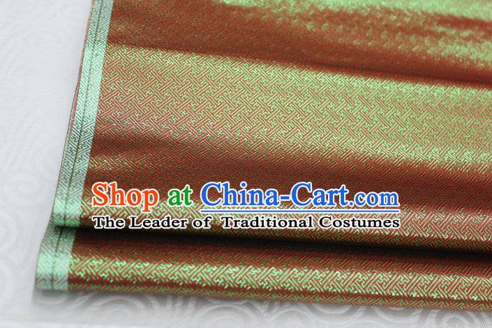 Chinese Traditional Royal Palace Pattern Mongolian Robe Red Green Brocade Fabric, Chinese Ancient Emperor Costume Drapery Hanfu Tang Suit Material