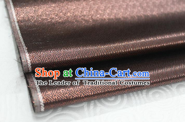 Chinese Traditional Royal Palace Pattern Mongolian Robe Deep Brown Brocade Fabric, Chinese Ancient Emperor Costume Drapery Hanfu Tang Suit Material