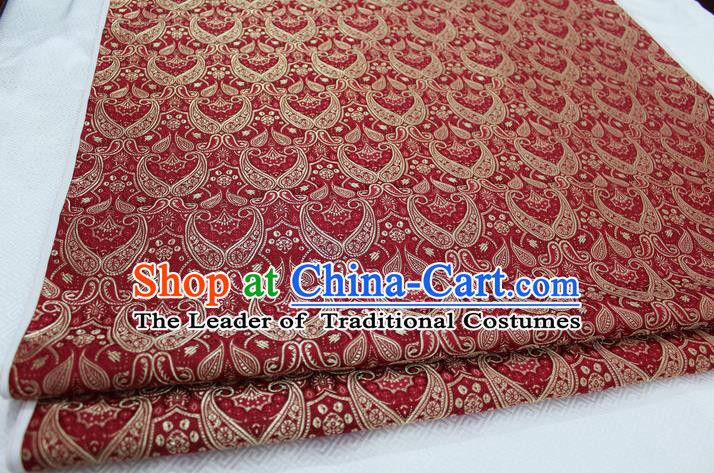 Chinese Traditional Royal Palace Pattern Mongolian Robe Red Brocade Cheongsam Fabric, Chinese Ancient Costume Drapery Hanfu Tang Suit Material
