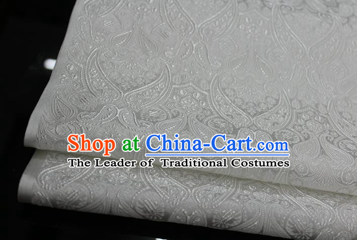 Chinese Traditional Royal Palace Pattern Mongolian Robe White Brocade Cheongsam Fabric, Chinese Ancient Costume Drapery Hanfu Tang Suit Material