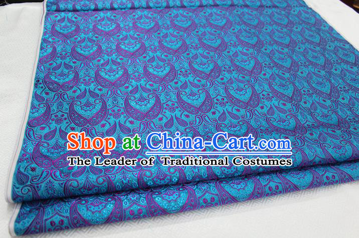 Chinese Traditional Royal Palace Pattern Mongolian Robe Blue Brocade Cheongsam Fabric, Chinese Ancient Costume Drapery Hanfu Tang Suit Material