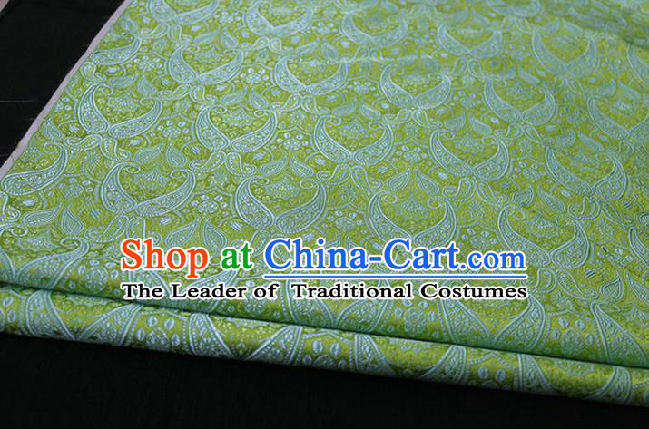 Chinese Traditional Royal Palace Pattern Mongolian Robe Green Brocade Cheongsam Fabric, Chinese Ancient Costume Drapery Hanfu Tang Suit Material