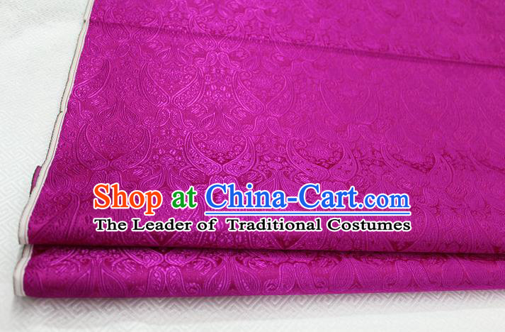 Chinese Traditional Royal Palace Pattern Mongolian Robe Rosy Brocade Cheongsam Fabric, Chinese Ancient Costume Drapery Hanfu Tang Suit Material
